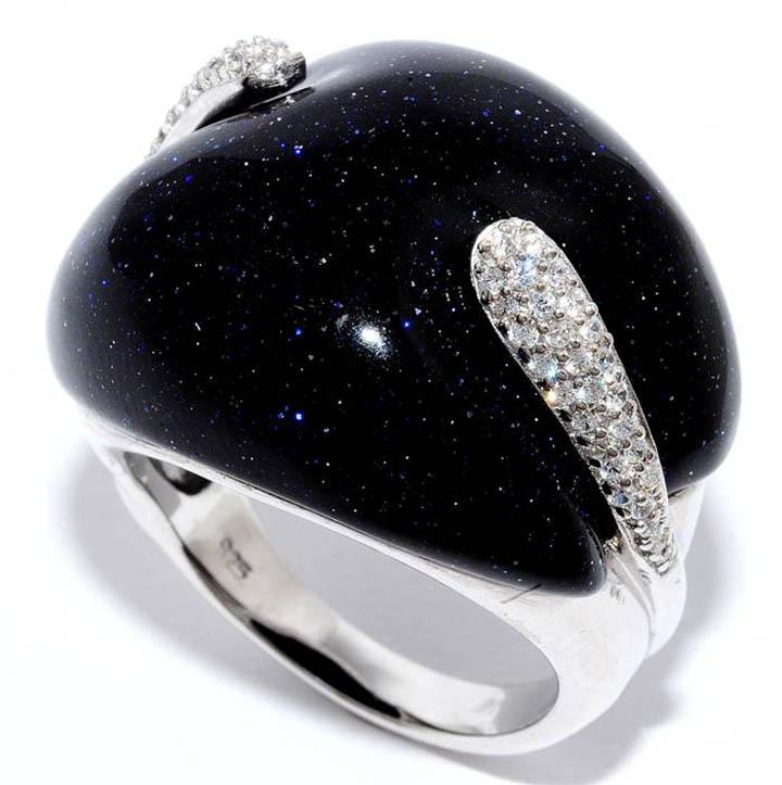 Авантюрин черный в серебре