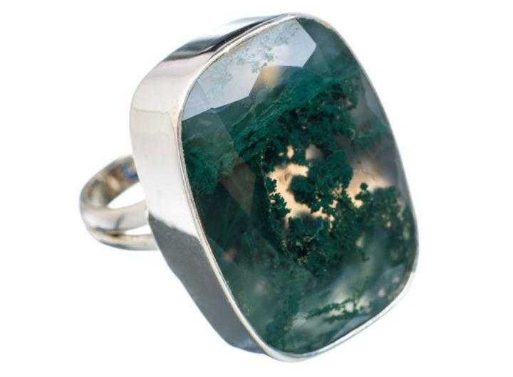 Цветной агат моховой перстень